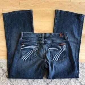 7FAM Dojo Ankle Flare Rhinestone Pocket Jeans